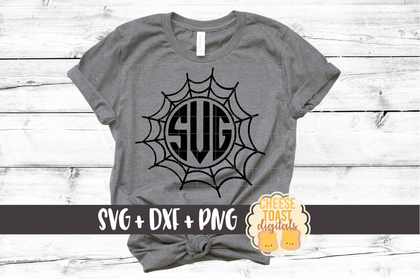 Spider Web Monogram Frames - Halloween SVG PNG DXF Cut Files example image 2