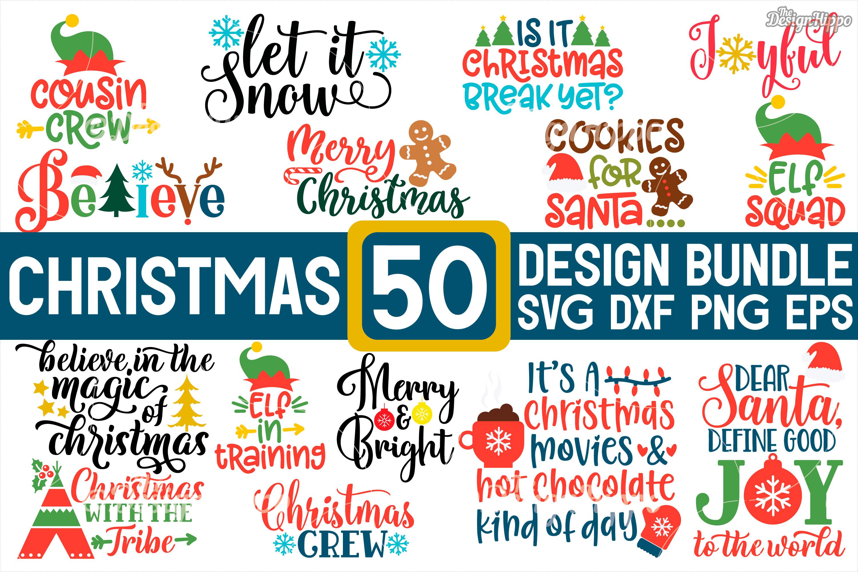 MEGA Christmas Bundle SVG PNG DXF EPS Cricut Cutting Files example image 1