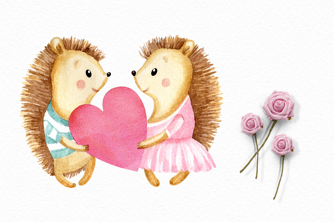Valentine's Day watercolor clipart example image 2