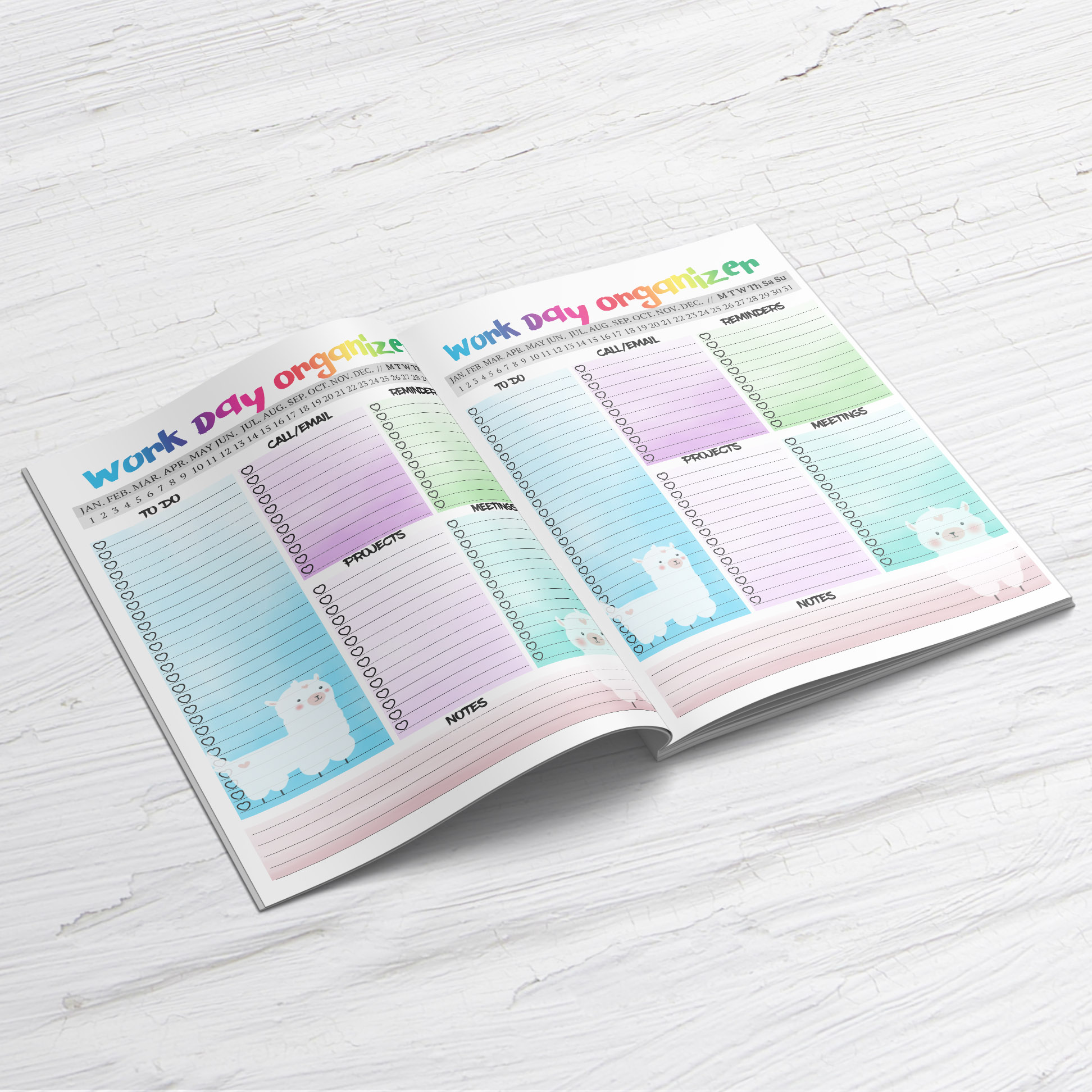 Llama daily Planner Printable Work day planner insert example image 6
