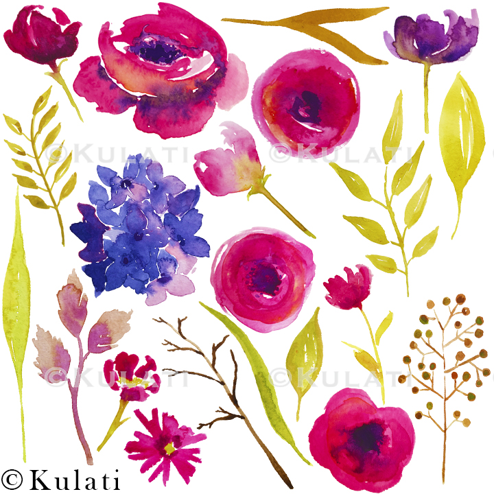 Bohemian Summer Watercolor Floral & Feather Clipart example image 3