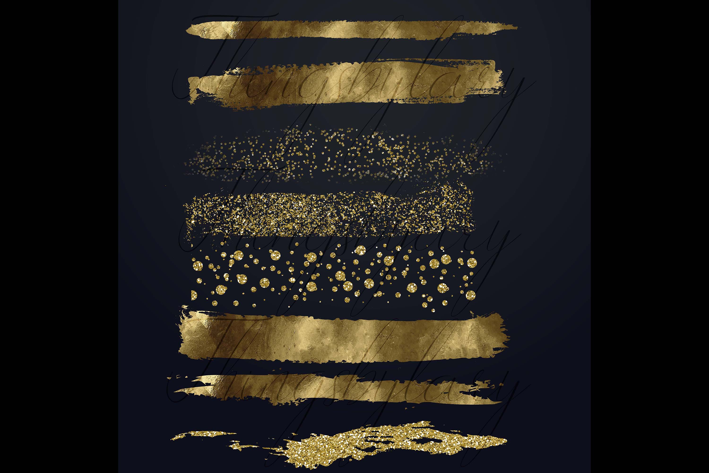 33 Gold Glitter and Black Hand Drawn Brush Strokes Images example image 10