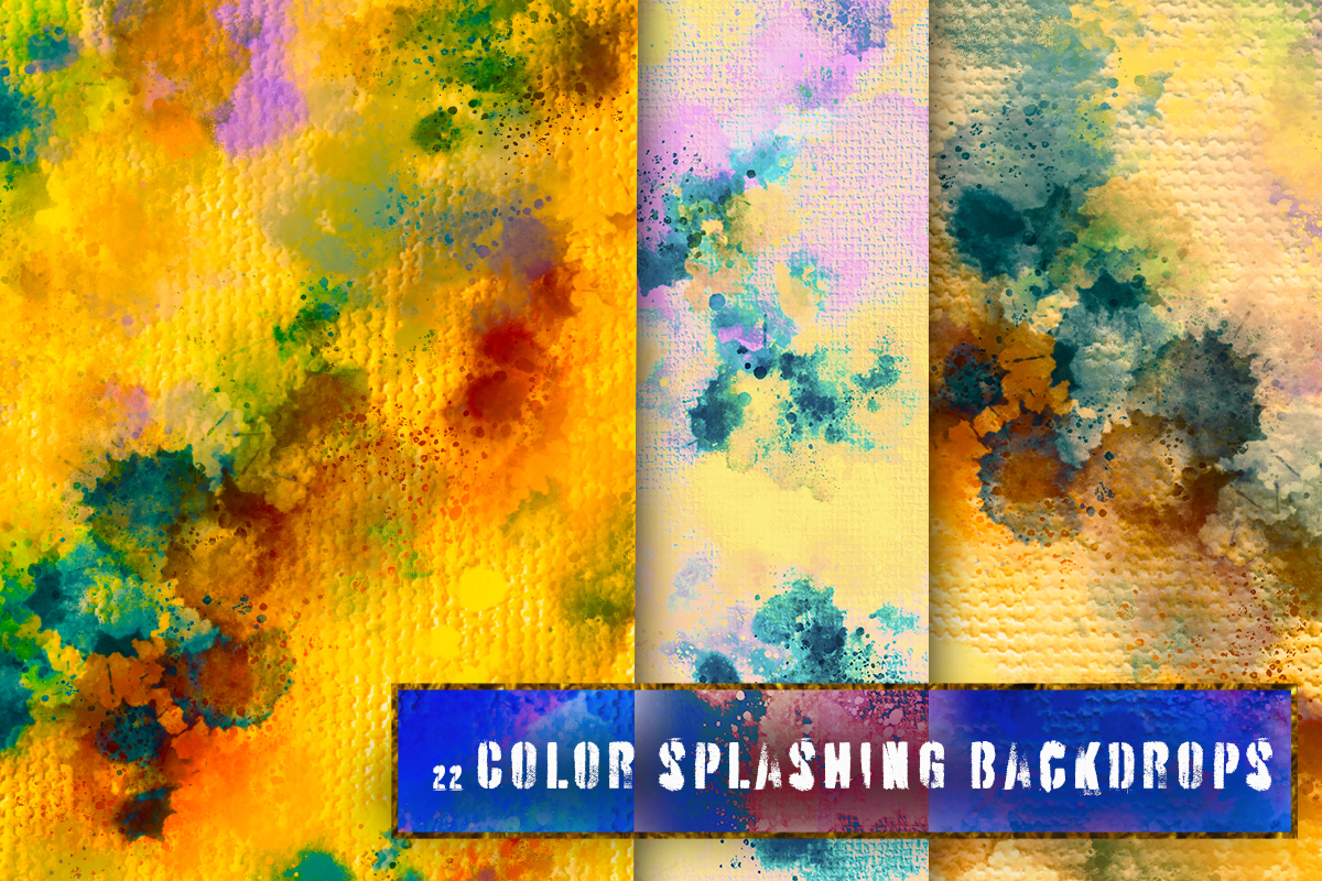 22 Colorful backgrounds. Watercolor splatter on canvas paper example image 2