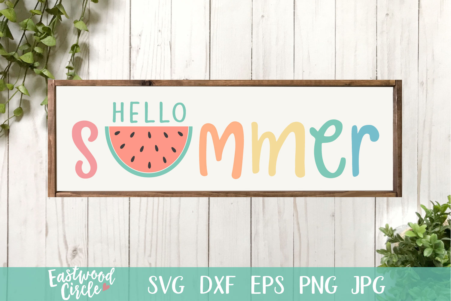 Hello Summer with Watermelon - A Summer SVG File for Signs example image 1