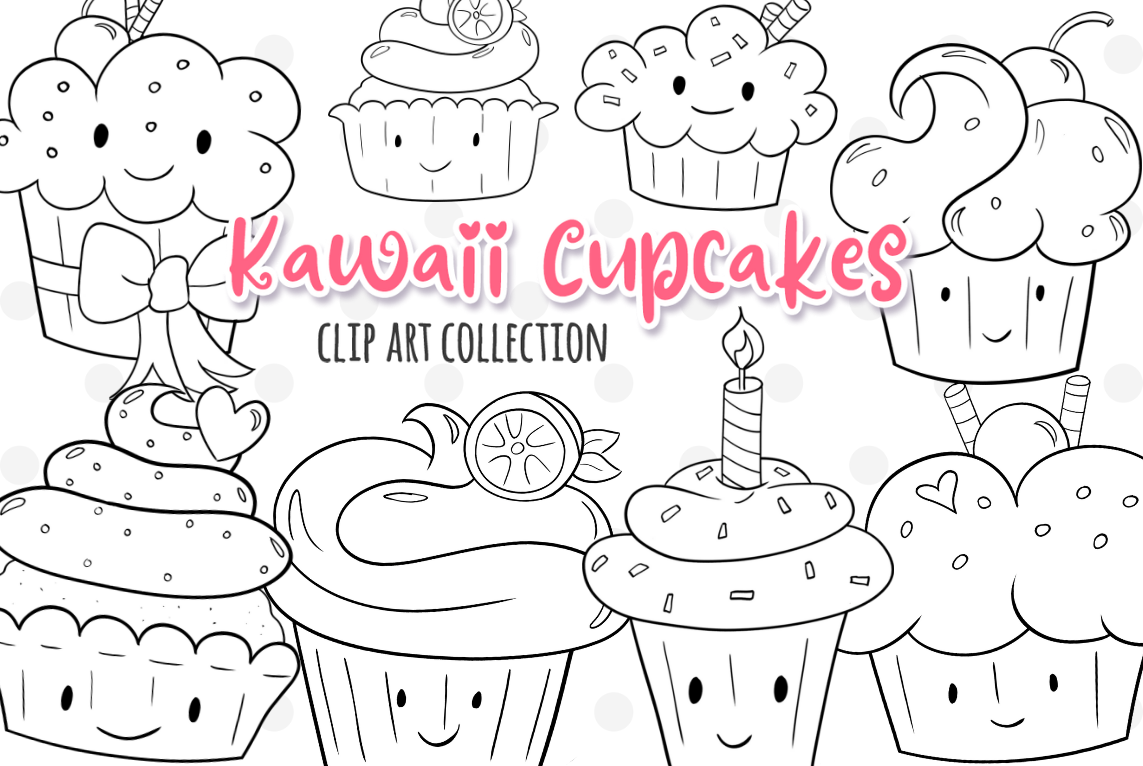 Kawaii Cupackes Digital Stamps example image 1
