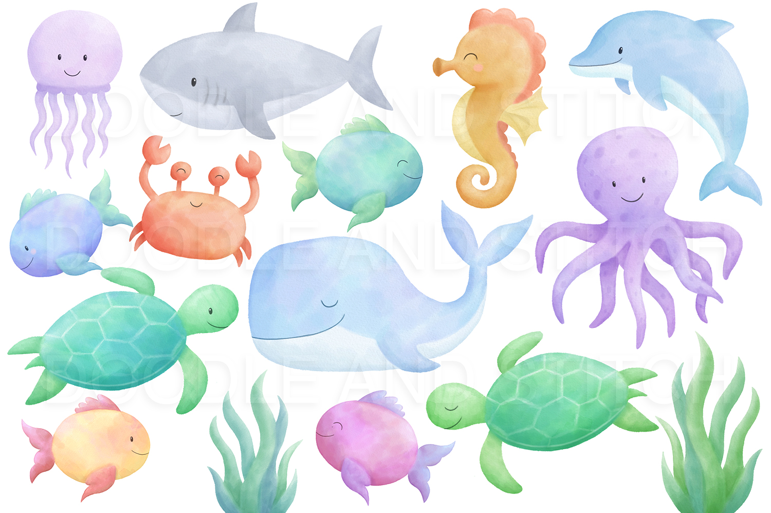 Under the Sea Watercolor Clipart Illustrations example image 2