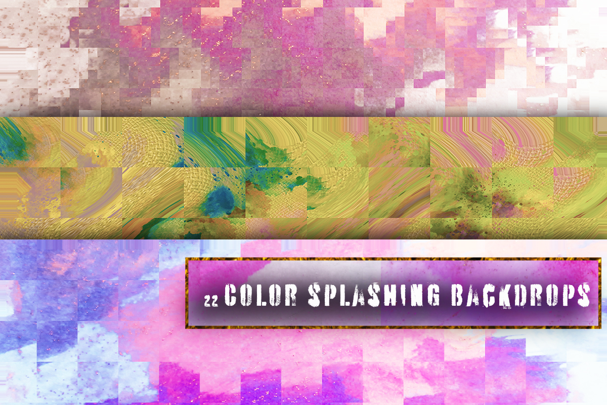 22 Colorful backgrounds. Watercolor splatter on canvas paper example image 5