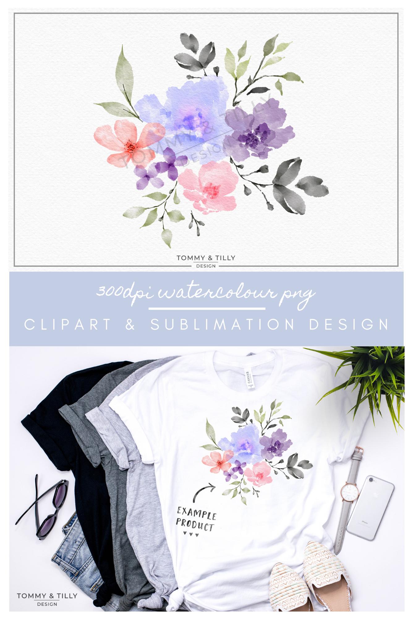 Watercolour Lilac Bouquet - Sublimation | Clipart | PNG example image 5
