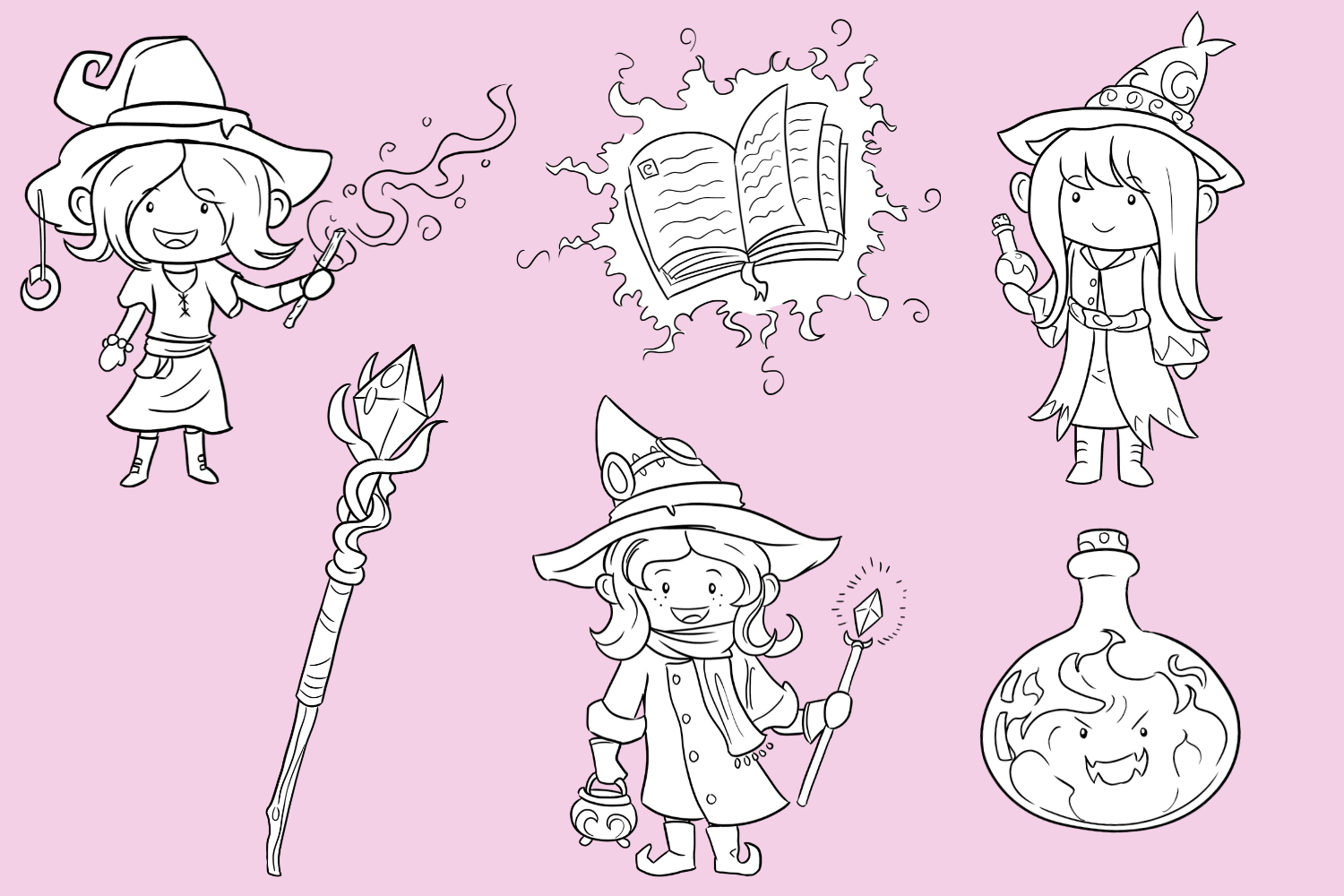 Playful Witches Fantasy Clip Art Collection example image 2