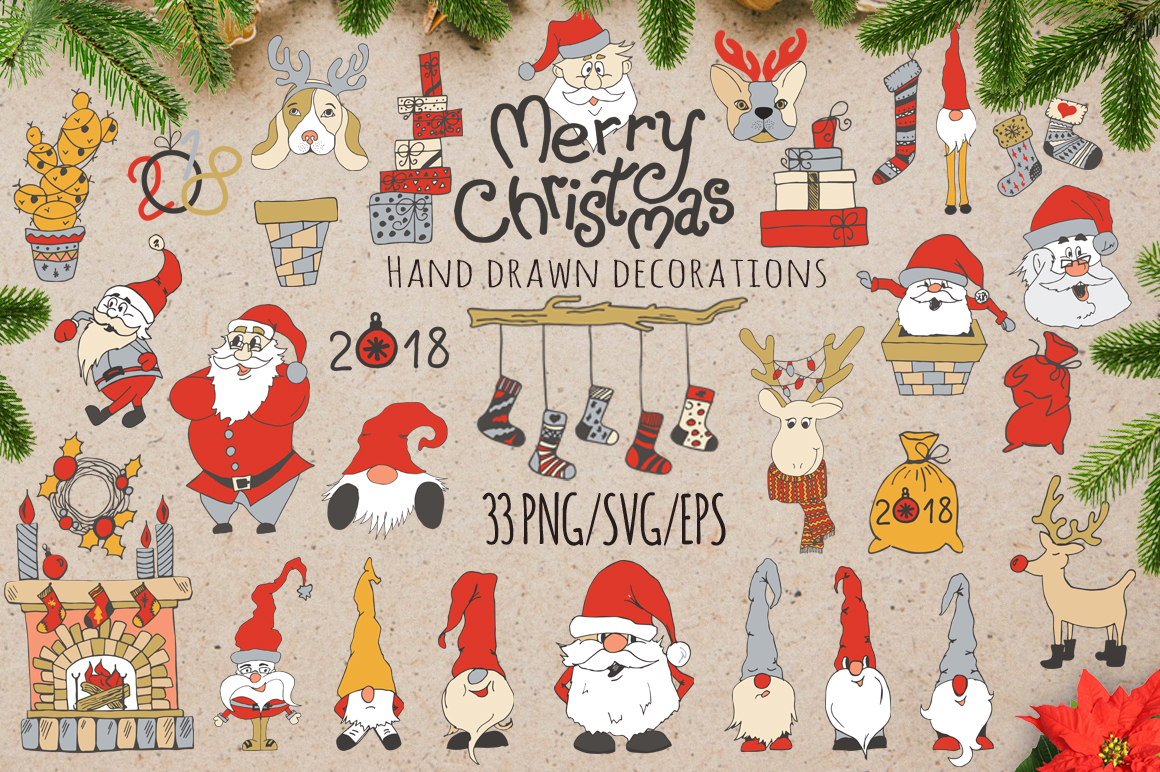 Merry Christmas decoration Set with cute Santa SVG Cut files example image 1