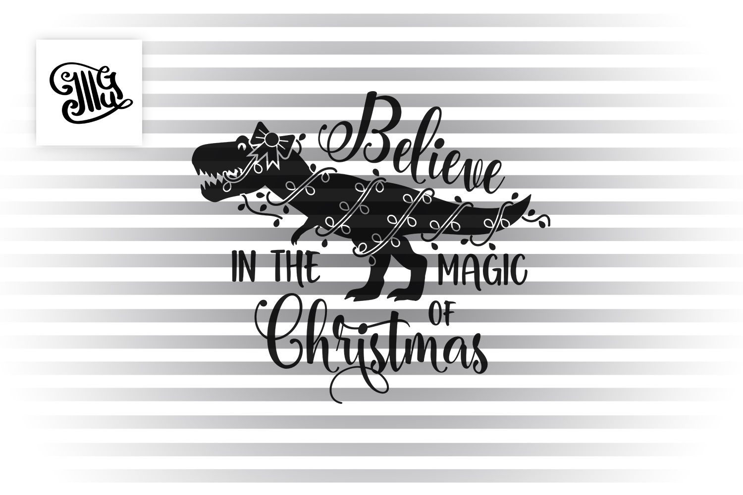 Believe in the magic of Christmas - dinosaur for girl example image 2