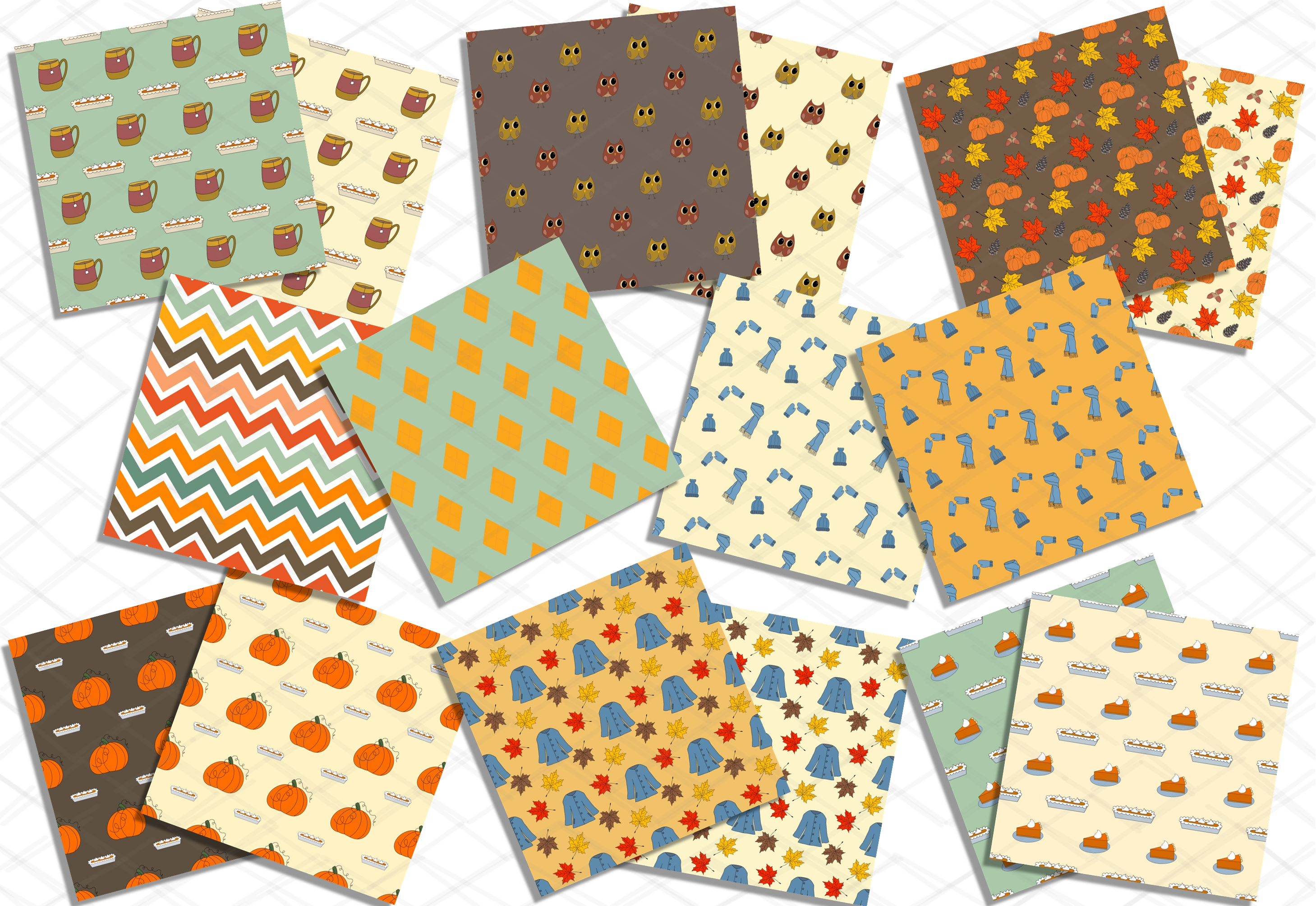 Autumn Fall Patterns Harvest Digital Papers Bundle Pumpkins example image 2