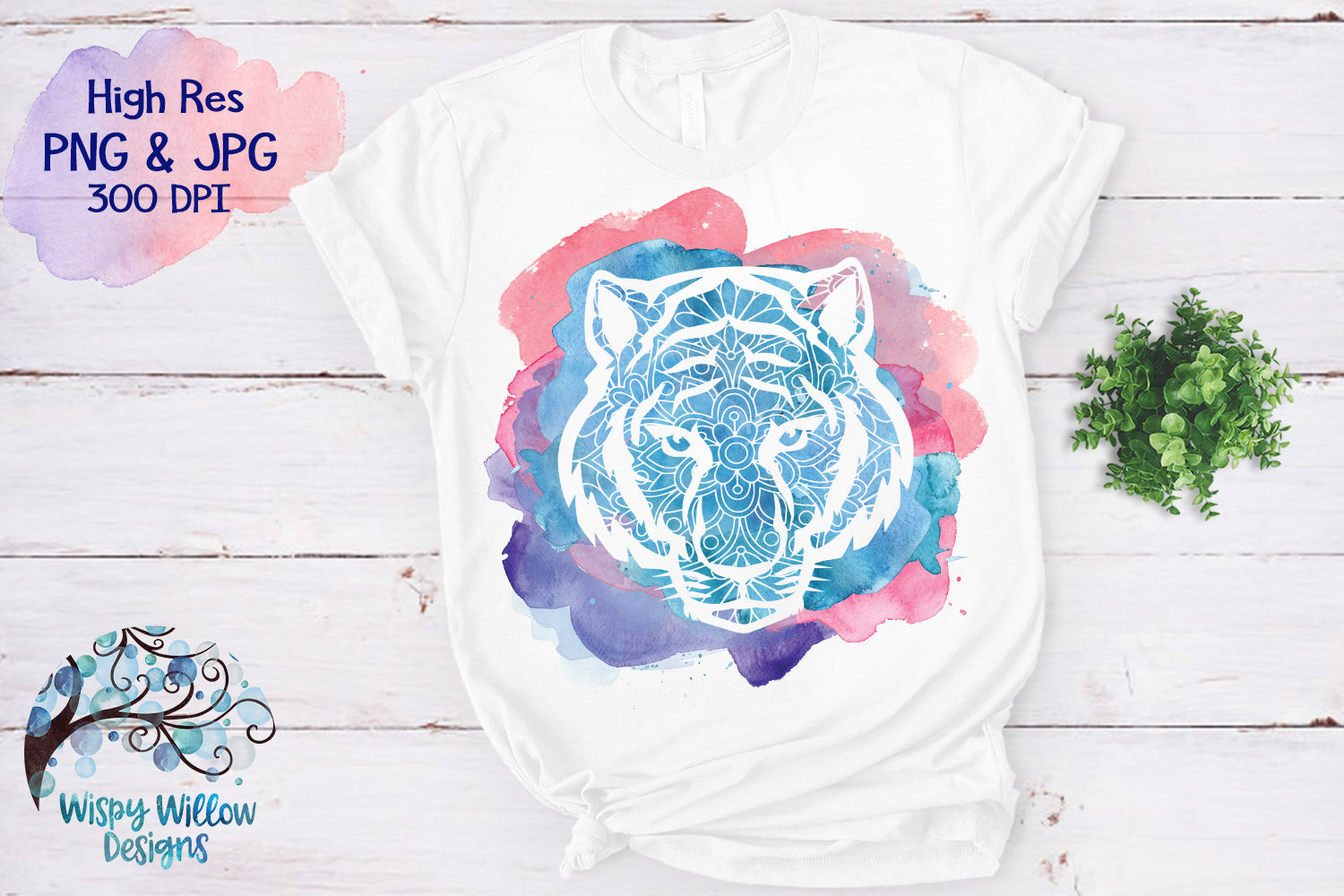 Tiger Mandala Watercolor PNG | Sublimation | Clipart example image 1