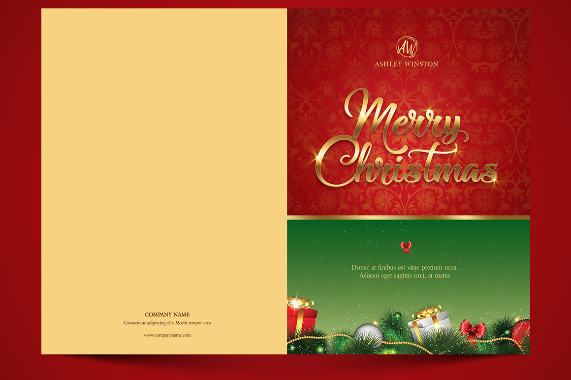 Happy Christmas Greeting Card Template example image 4