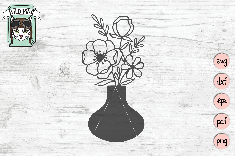 Flower VaseSVG file, Floral Vase cut file, Bouquet clipart example image 4