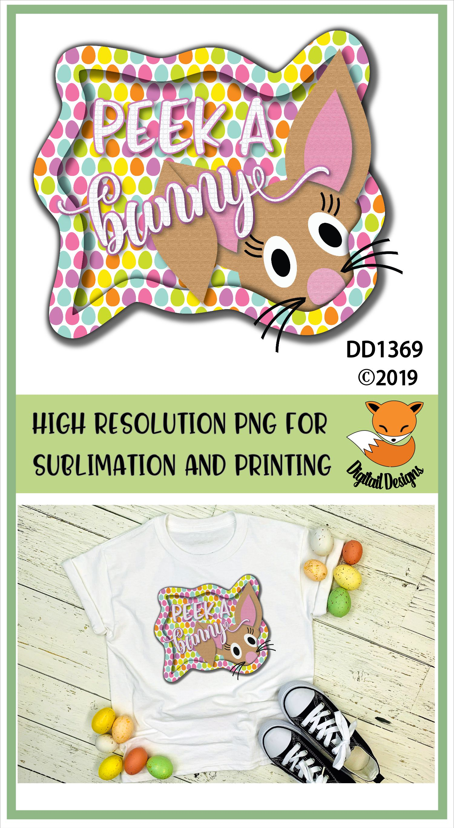 Peeking Easter Bunny Sublimation Printable example image 2