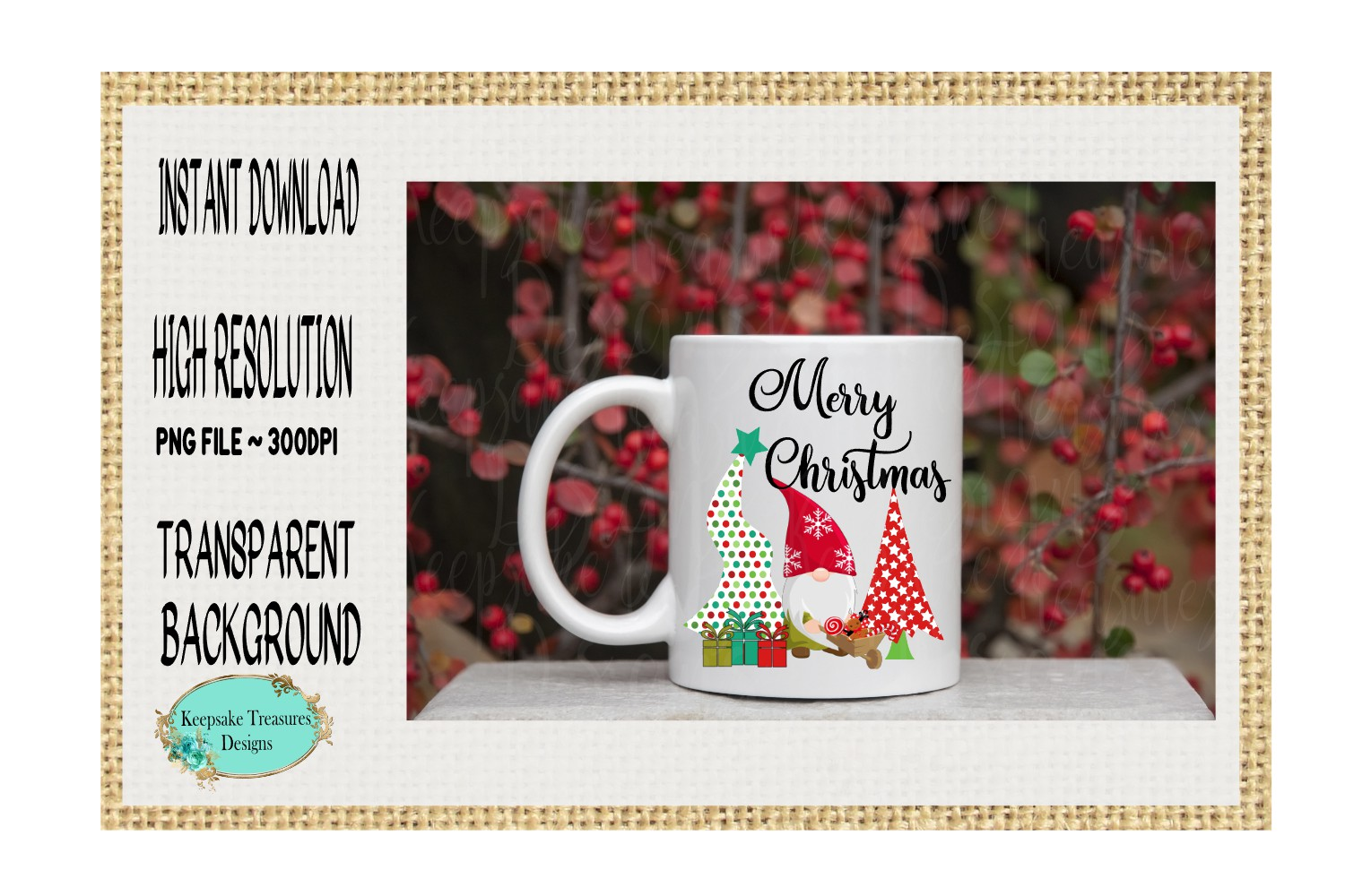 Merry Christmas, Whimsical Gnome, Sublimation Design example image 2