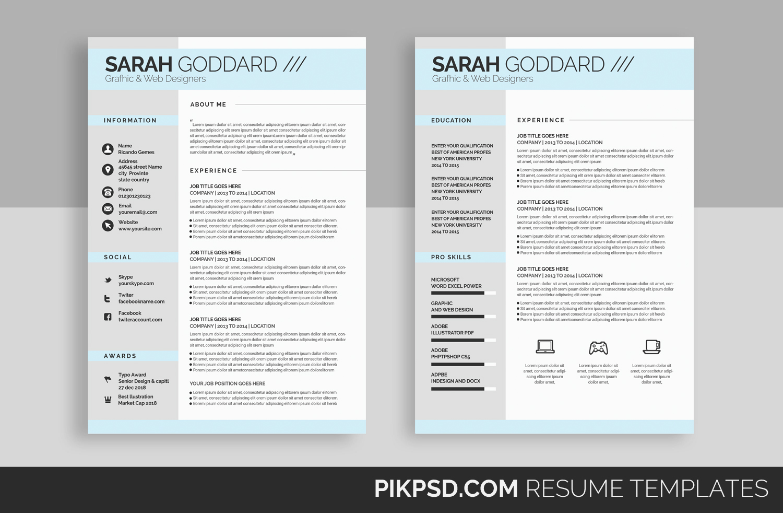 stylish resume template set