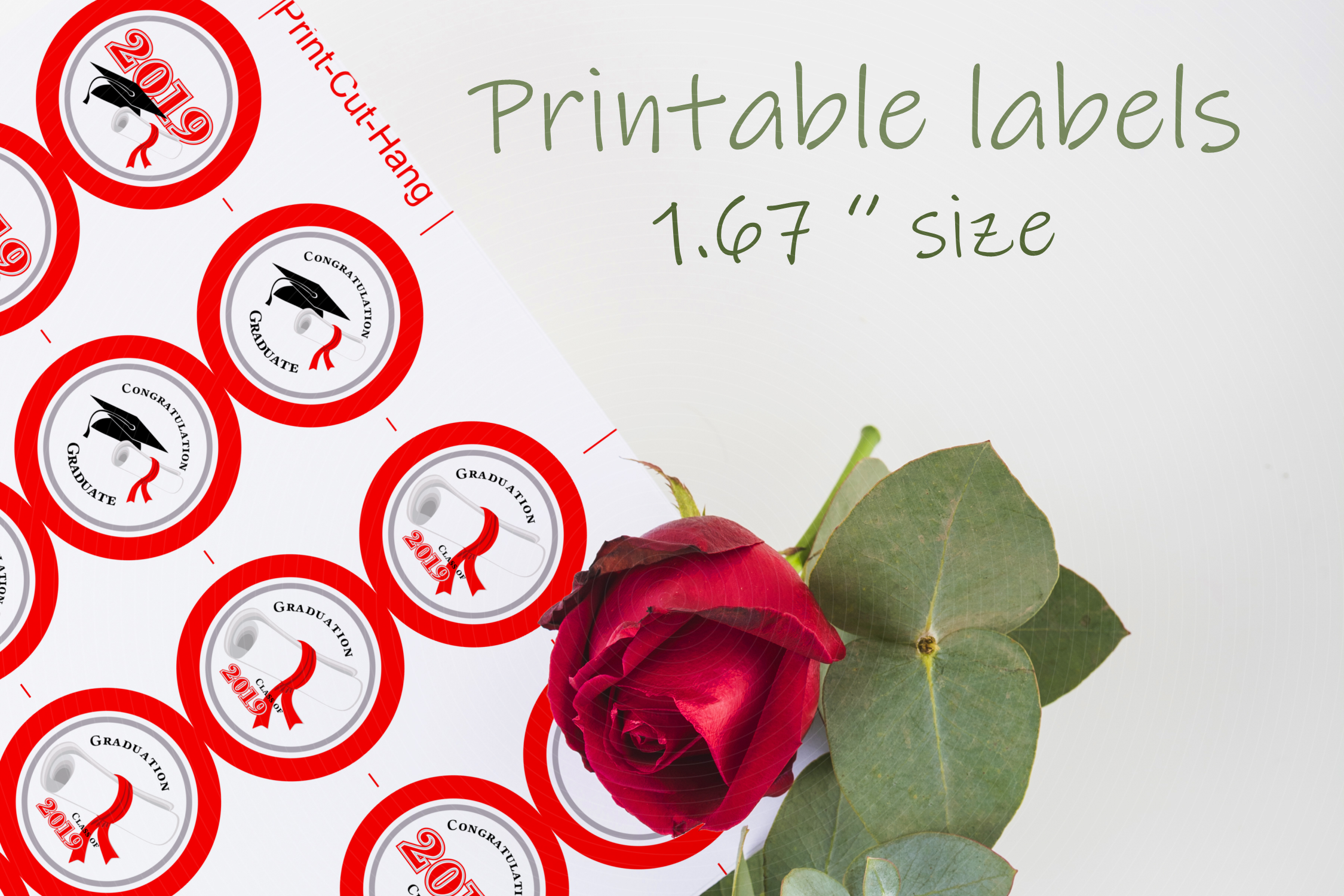 Red Printable Stickers Graduation 2019 - size 1.67 inches example image 1