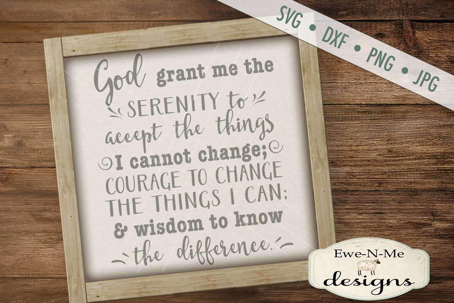 Serenity Prayer SVG DXF Cut File example image 1