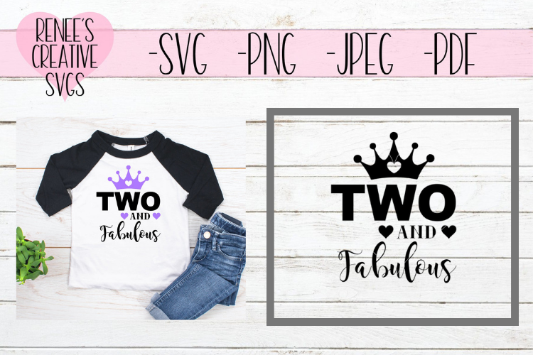 Two And Fabulous | Birthday | SVG Cutting File example image 2