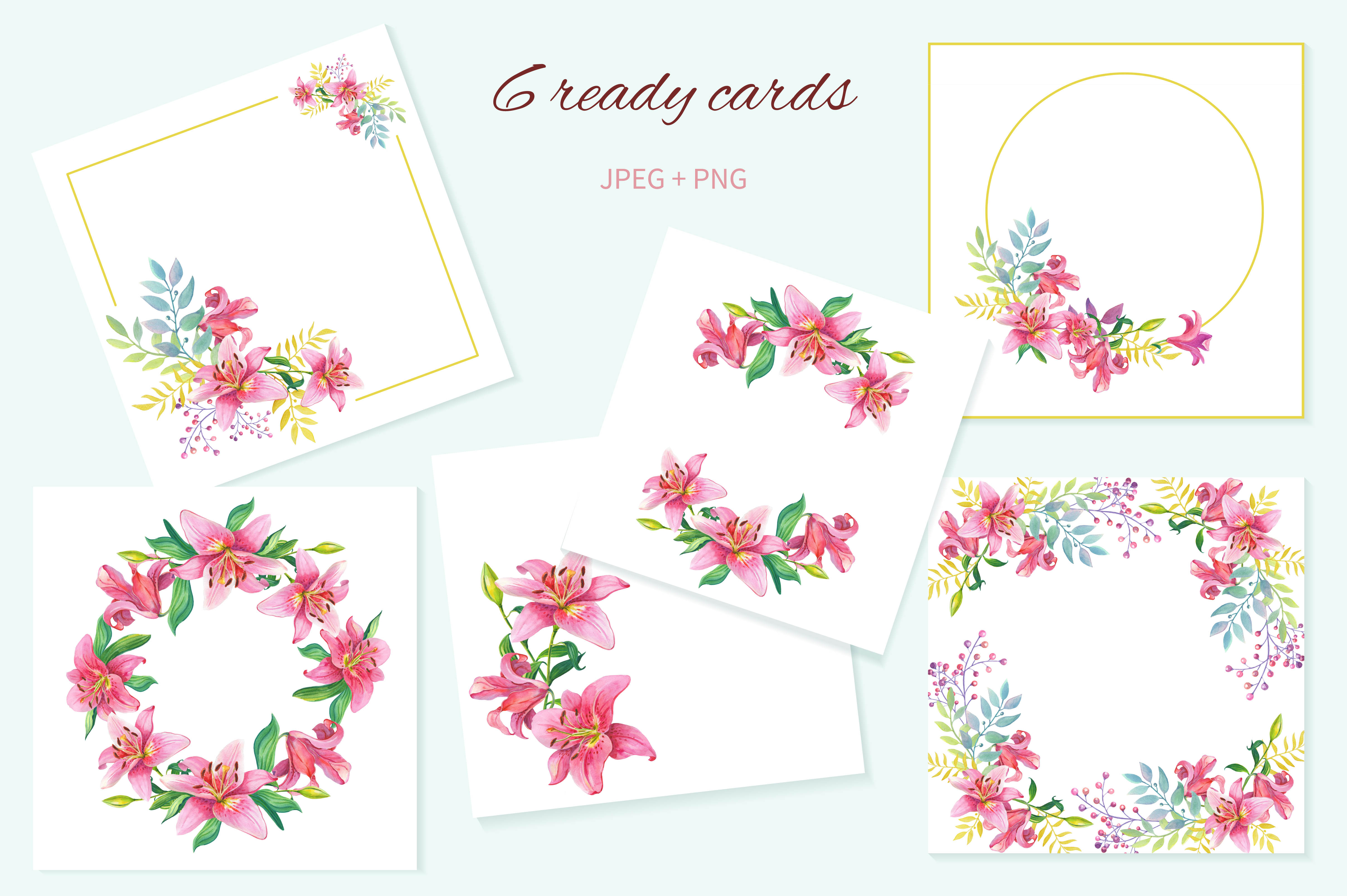 Pink Lilies.Watercolor clipart. example image 8
