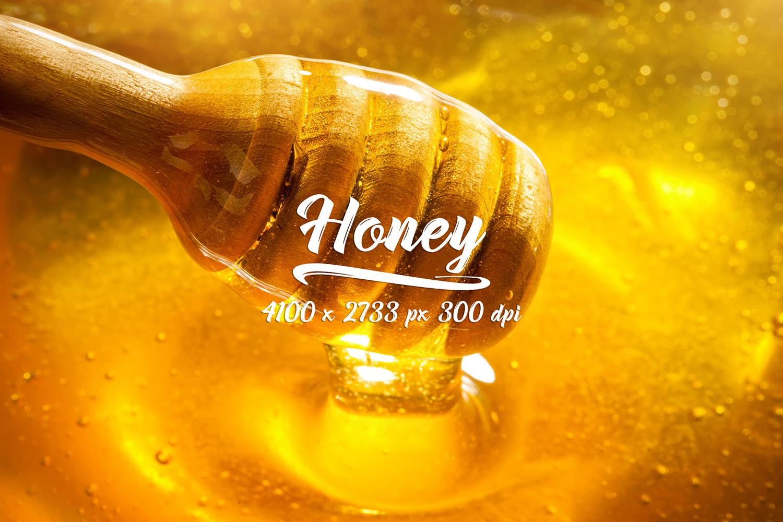 Honey bundle and macro photography texture of honey. example image 11