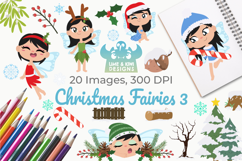 Christmas Fairies 3 Clipart, Instant Download Vector Art example image 1
