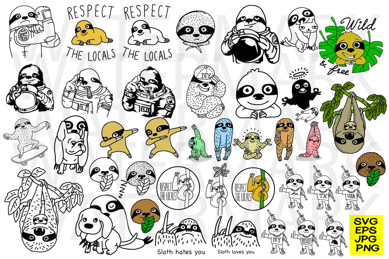Bundle Sloth - SVG-EPS-JPG-PNG example image 1