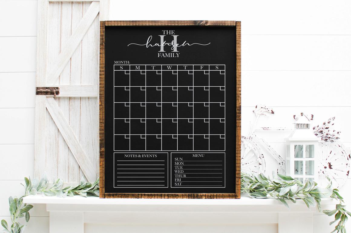 Customizable Family Calendar - Monthly Calendar SVG example image 2