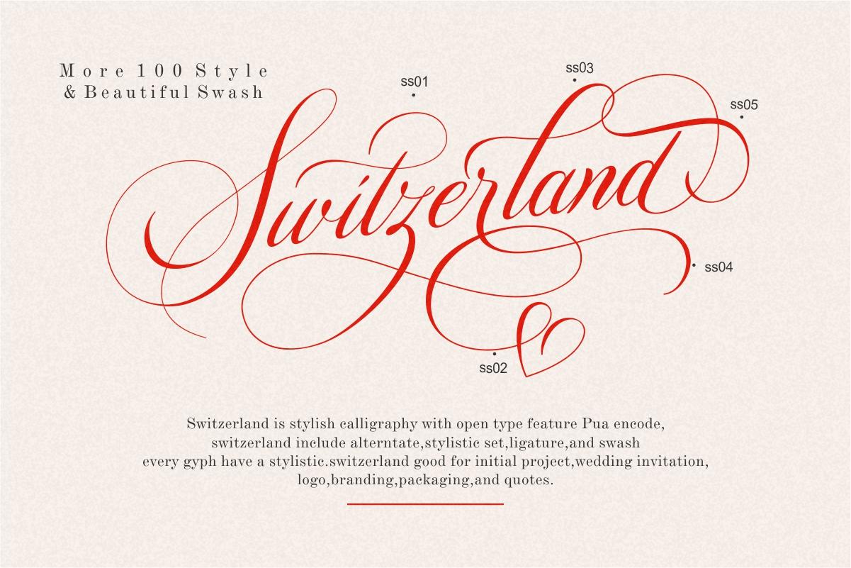Switzerland Elegant Stylish Calligraphy Script example image 8