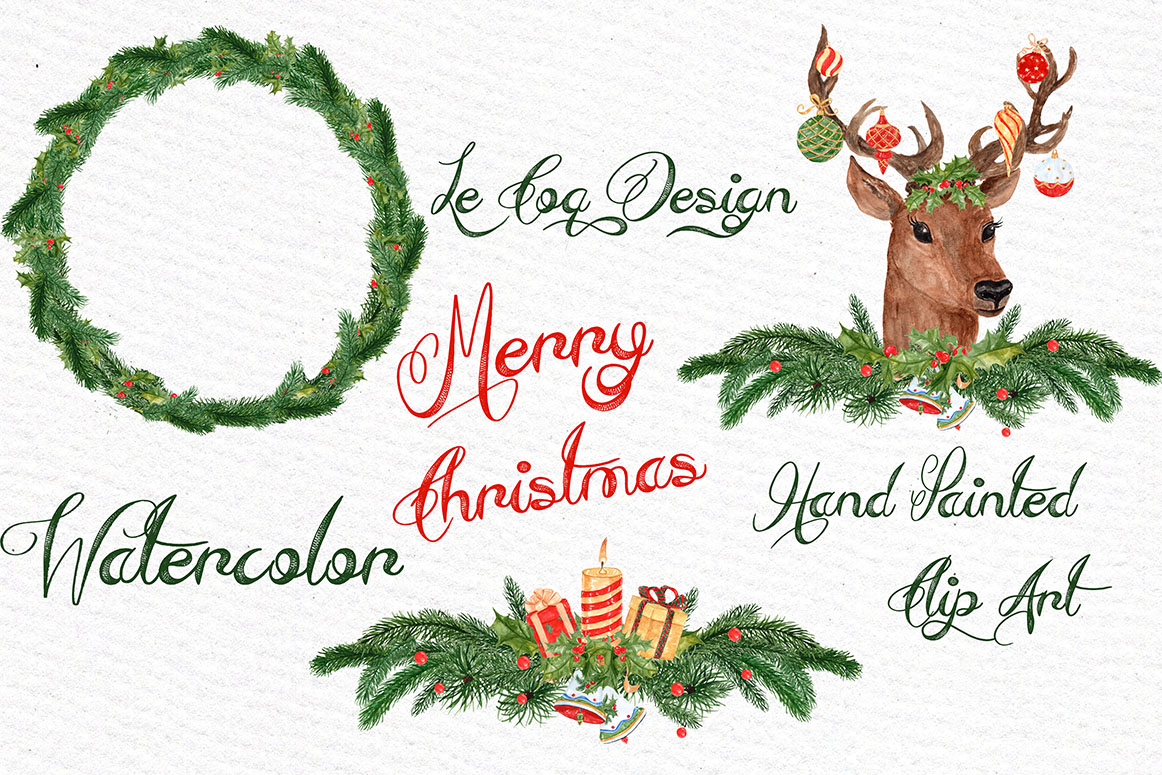 Watercolor Christmas Wreaths clipart example image 4