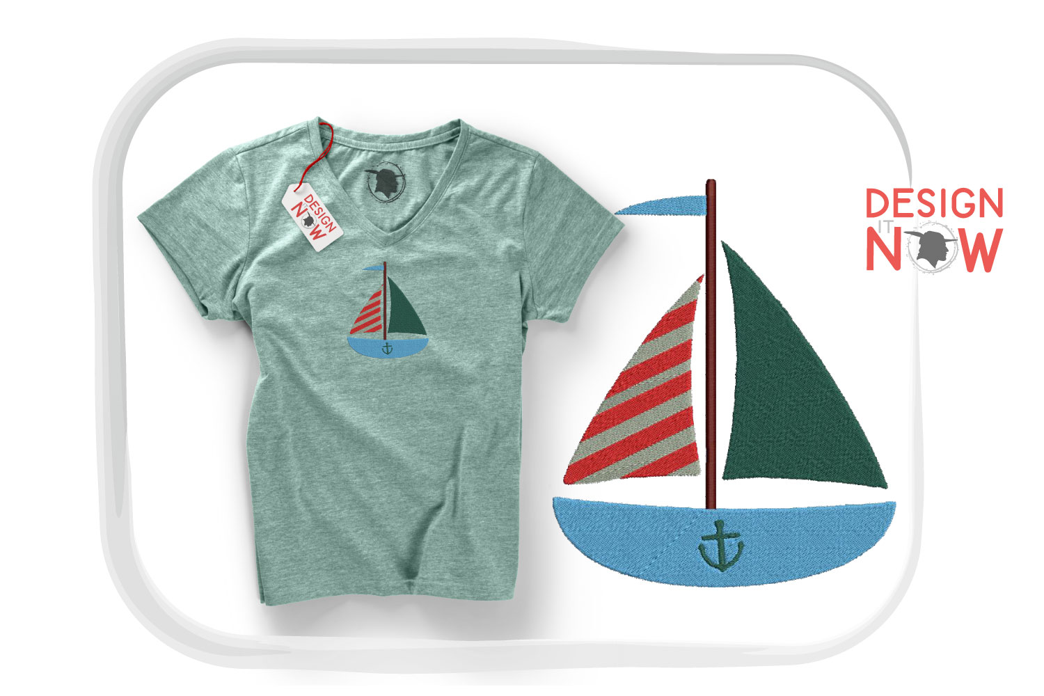 Boat Embroidery Design, Sailing Ship Embroidery Pattern, Sea example image 4
