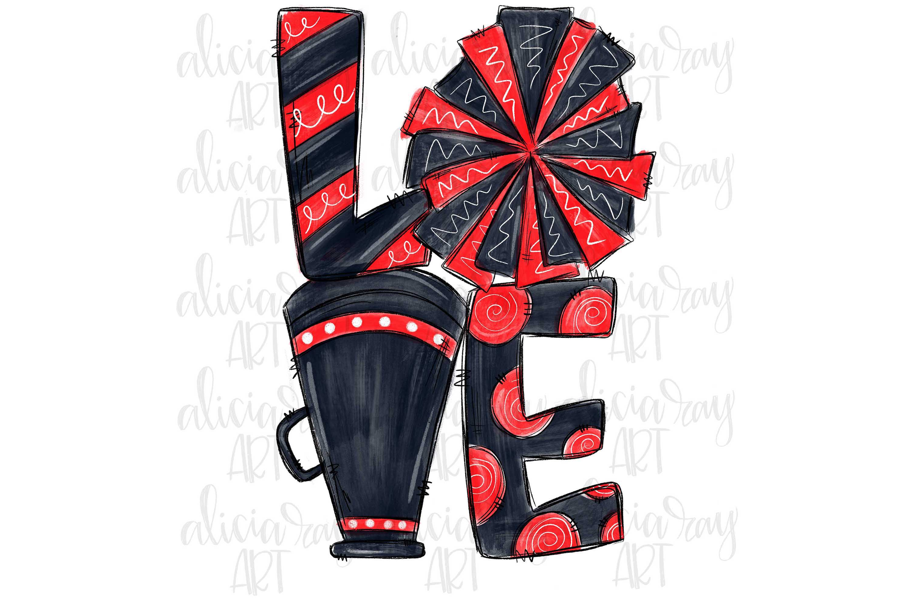 Cheer Love Red and Black example image 1