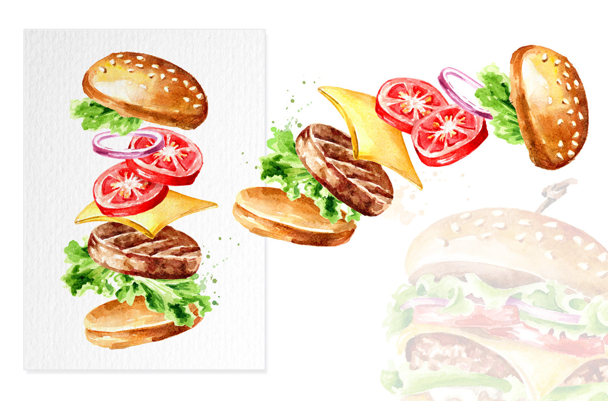 Fast food watercolor collection example image 6