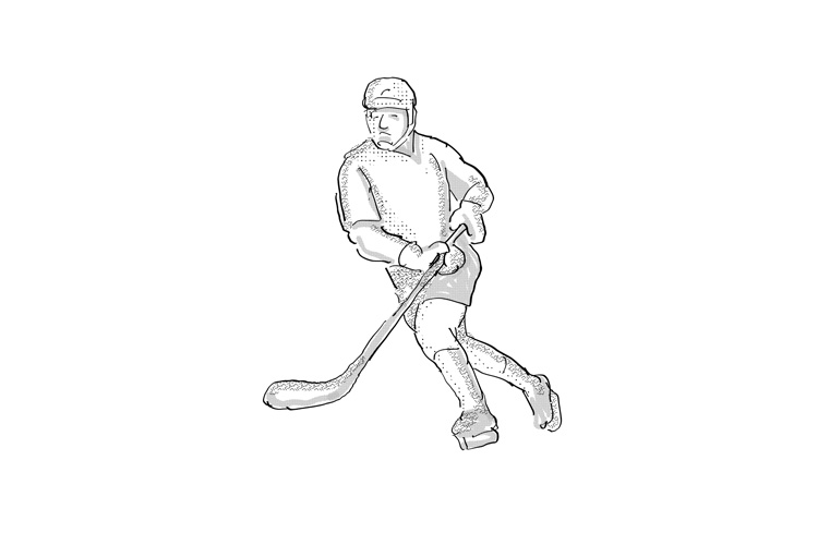 Ice Hockey Player Cartoon Isolated example image 1