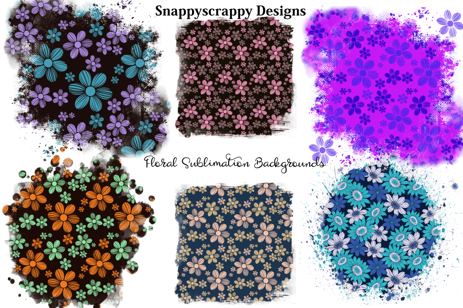 Floral Sublimation Backgrounds example image 1