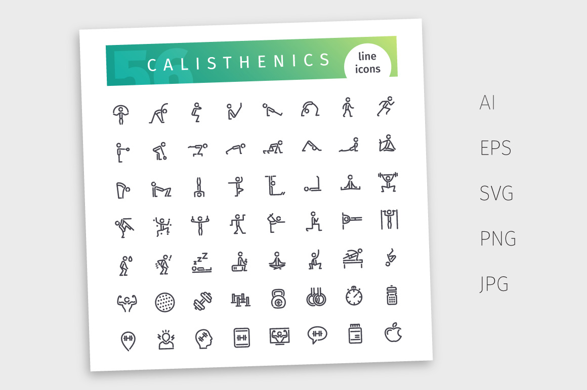Calisthenics Line Icons Set example image 4
