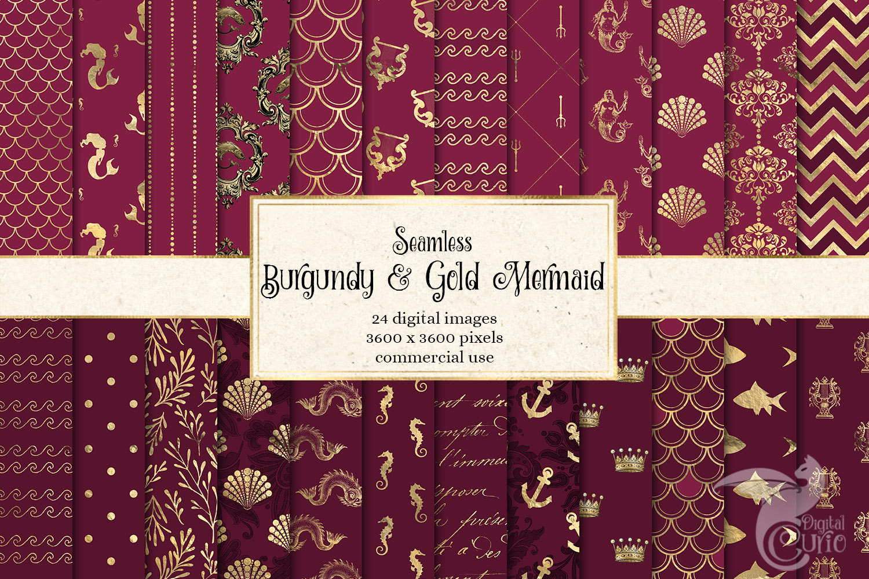 Burgundy and Gold Mermaid Digital Paper example image 1
