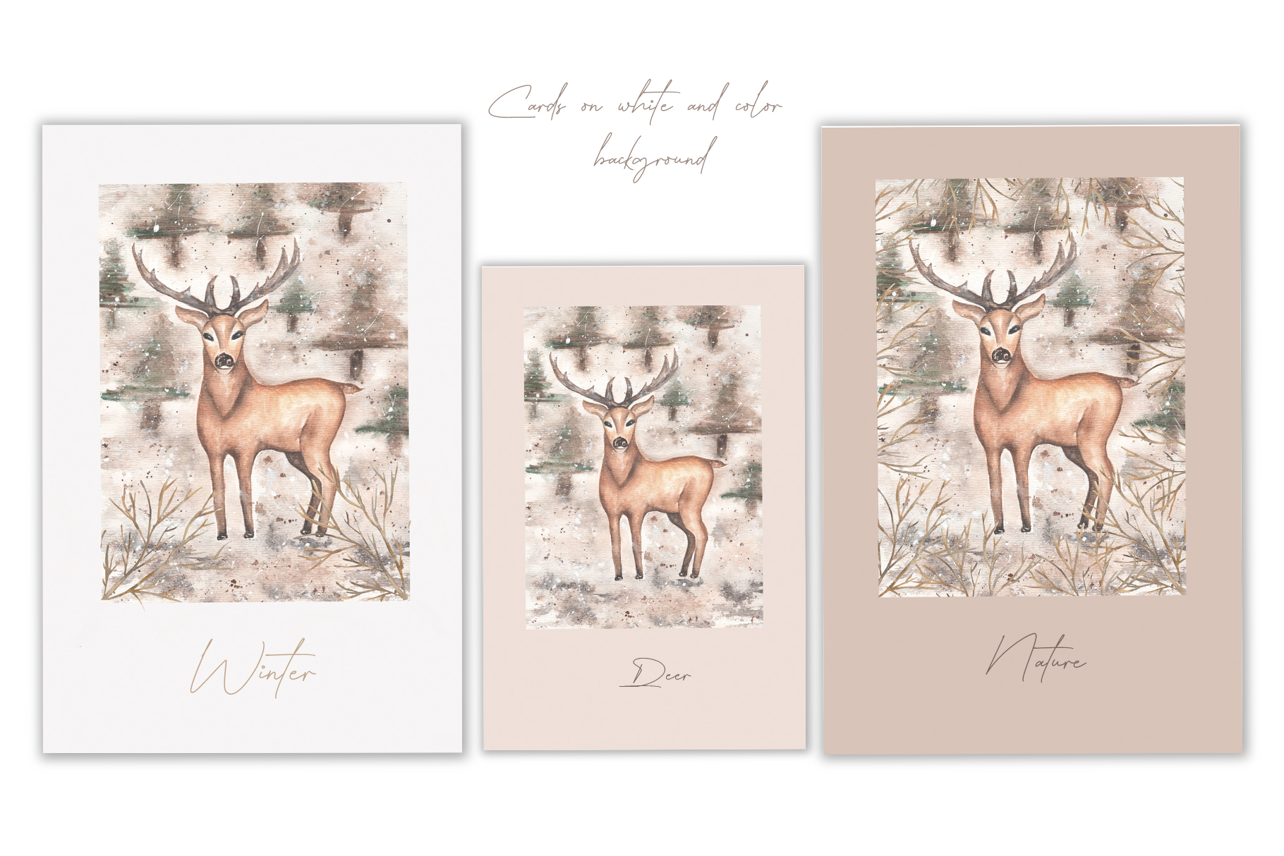 Watercolor winter deer cards example image 2