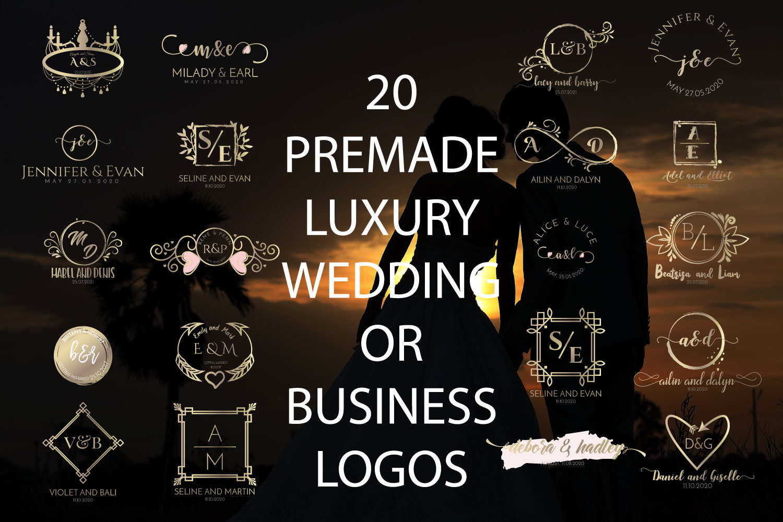 20 PREMADE FEMININE, LUXURY WEDDING OR BUSINESS LOGOS example image 1