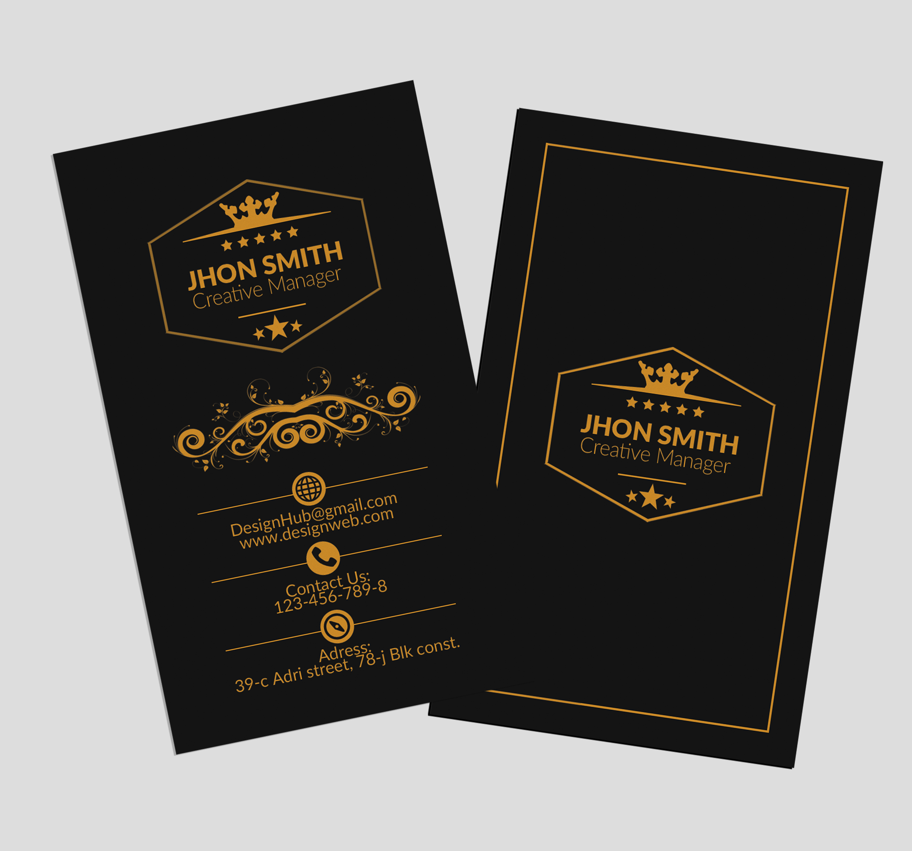 Vertical Black Business Cards example image 3