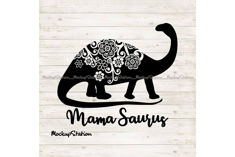 Dino Mom SVG, Mothers Day png, Mama Saurus Mandala Cut File example image 1