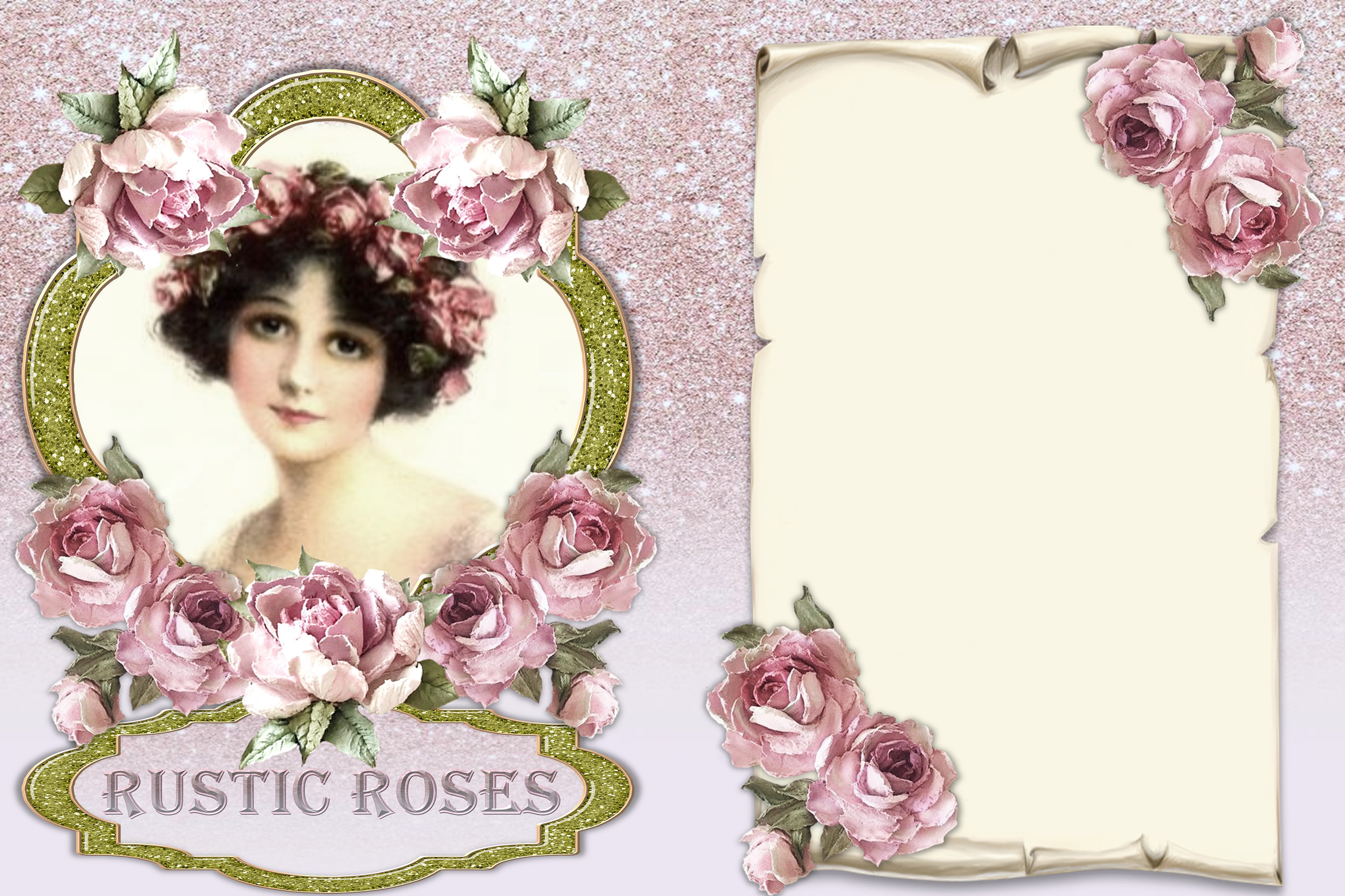 20 Journaling Background papers. Rustic Roses Commercial Use example image 2