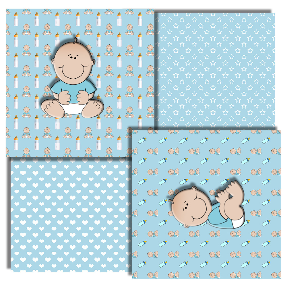 Baby Boy, Baby Shower, Blue Baby Patterned, Scrapbook,50OFF example image 4
