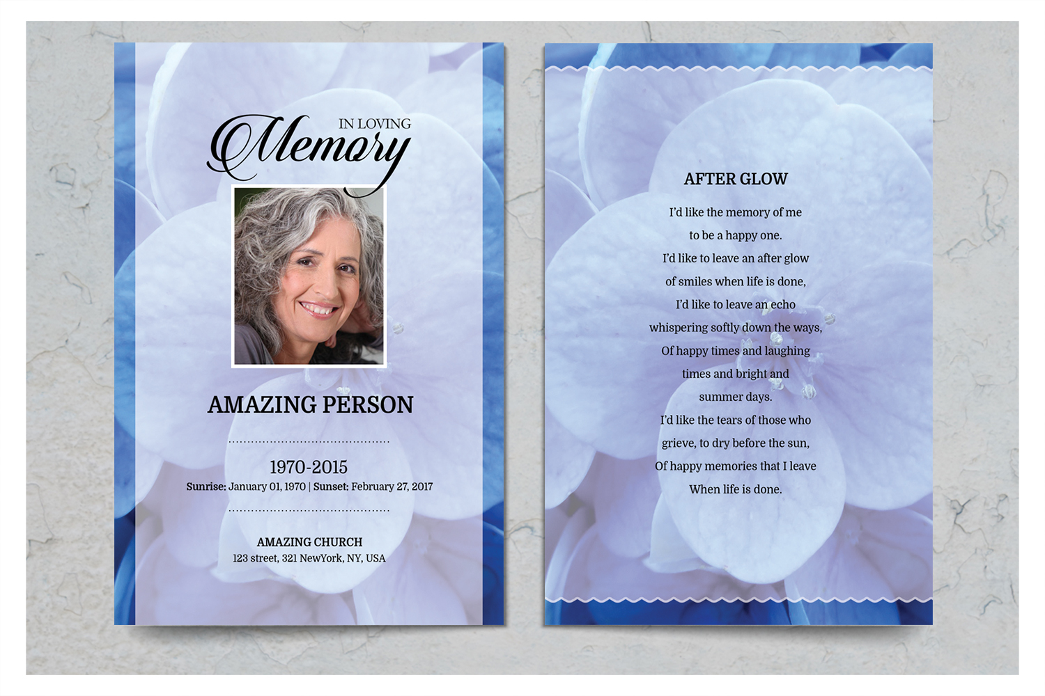 Blue flower Funeral Prayer Card Template example image 2
