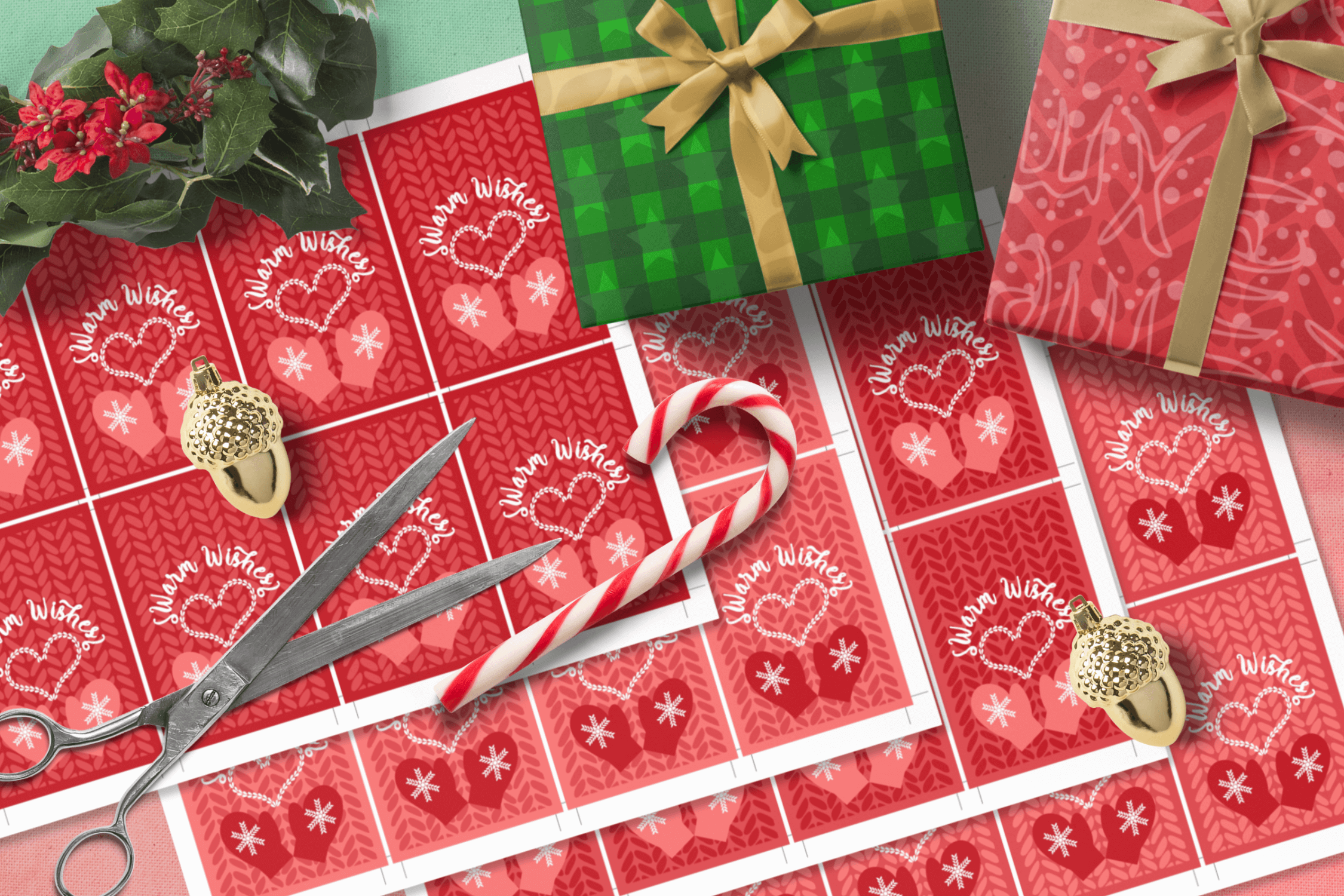 Printable Warm Wishes Red Tags Knitting Branding Tags example image 6