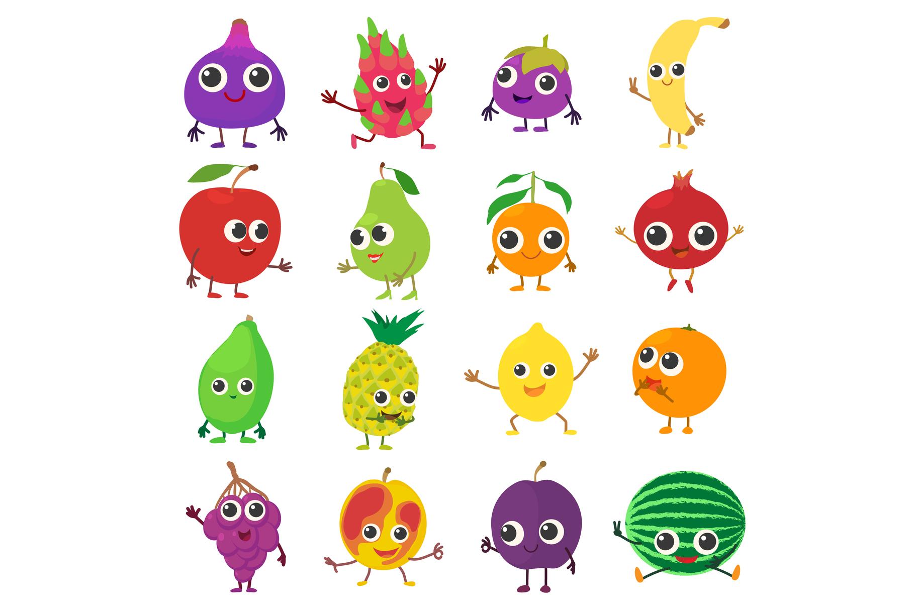 Smiling fruit icons set, cartoon style example image 1