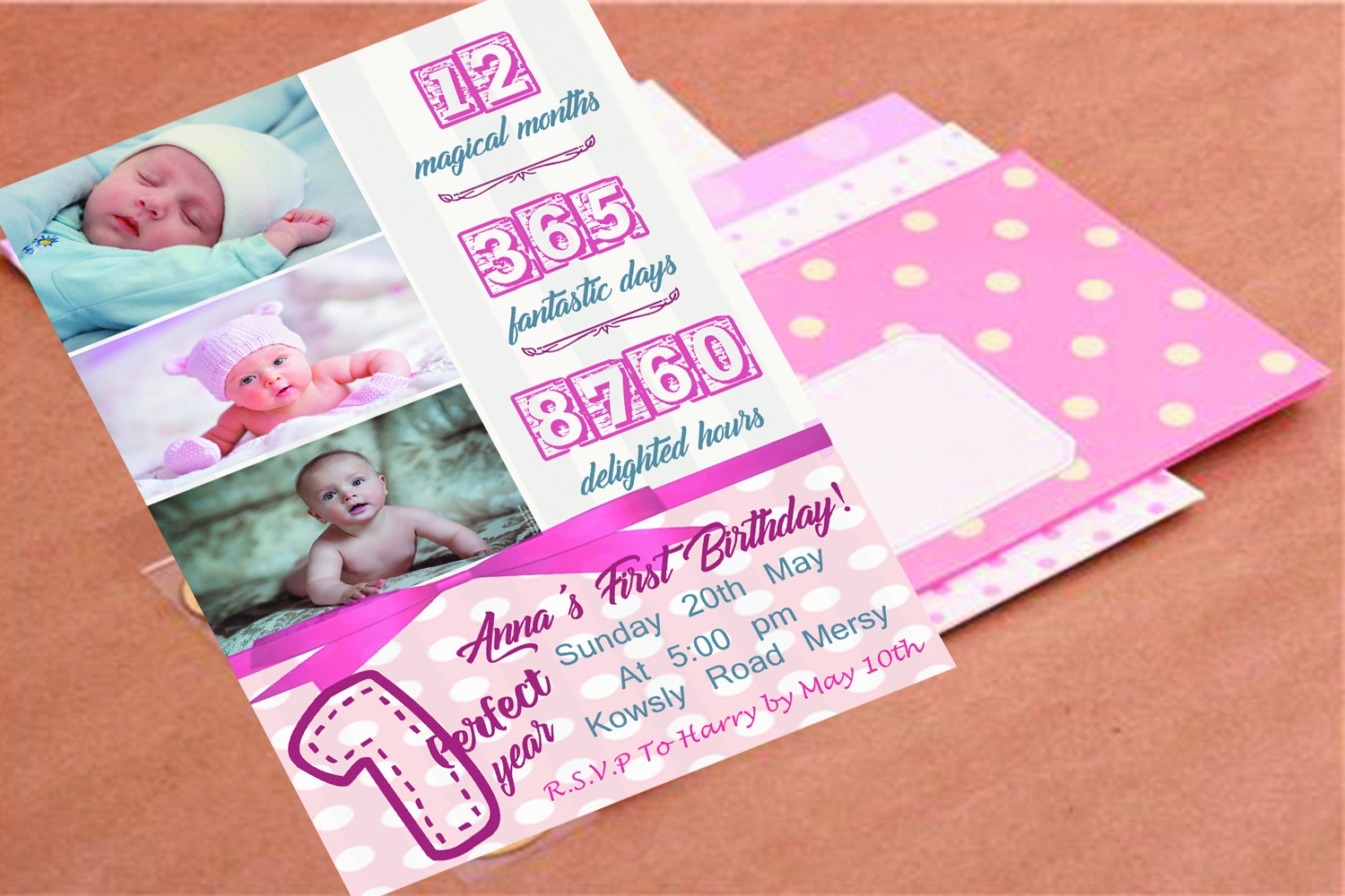 Birthday invitation card in 2 colours example image 3