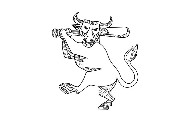 Bull Baseball Bat Mono Line example image 1